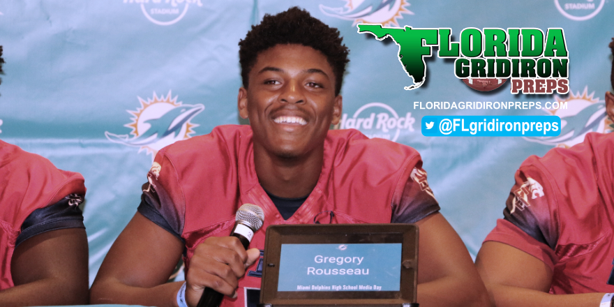 Gregory Rousseau at 2017 Dolphins HS Media Day