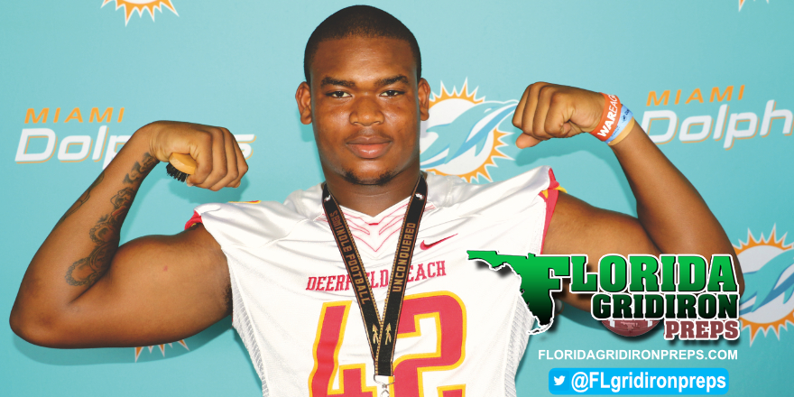 Deerfield Beach LB Rosendo Louis at 2017 Dolphins Media Day