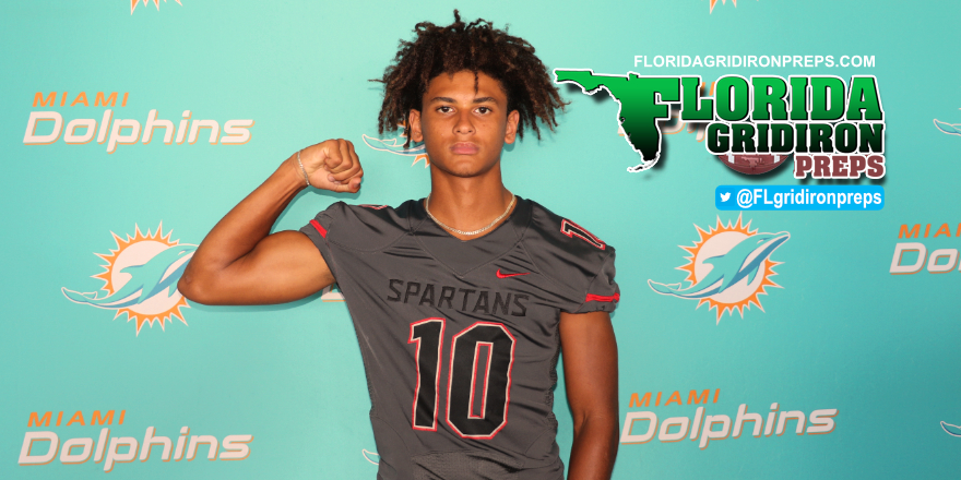Miami Southridge QB Michael Cox at Dolphins HS Media Day